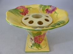 Devon Ware vase with insert - floral decoration on a yellow ground, approx 15.5cm high