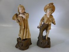 Austrian Turn Wein porcelain figures, of a boy and a girl, E W Turn Wein marks to the base, approx