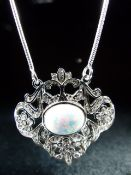 Silver and CZ Opal panelled Belle Epoque style pendant necklace