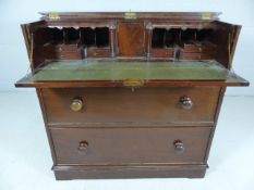 Mahogany Victorian secretaire with two drawers