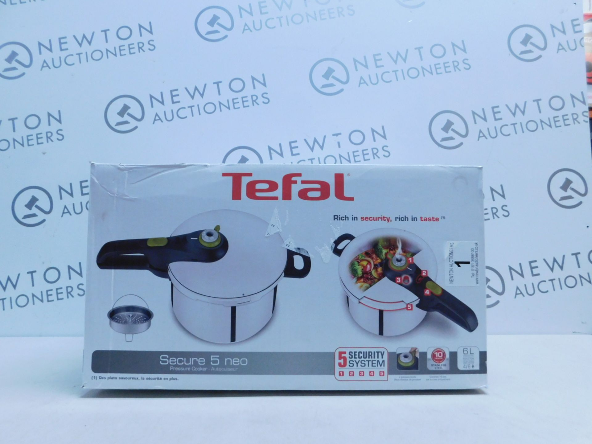 Lot 1 - 1 BOXED TEFAL SECURE 5 NEO STAINLESS STEEL 6L PRESSURE COOKER RRP £64.99