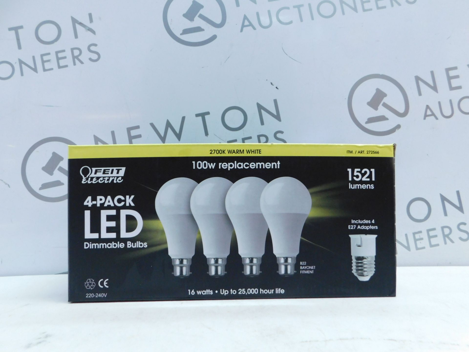 Lot 28 - 1 BOXED FEIT ELECTRIC 4PK LED 100W DIMMABLE BULBS WITH E27 ADAPTERS RRP £39.99