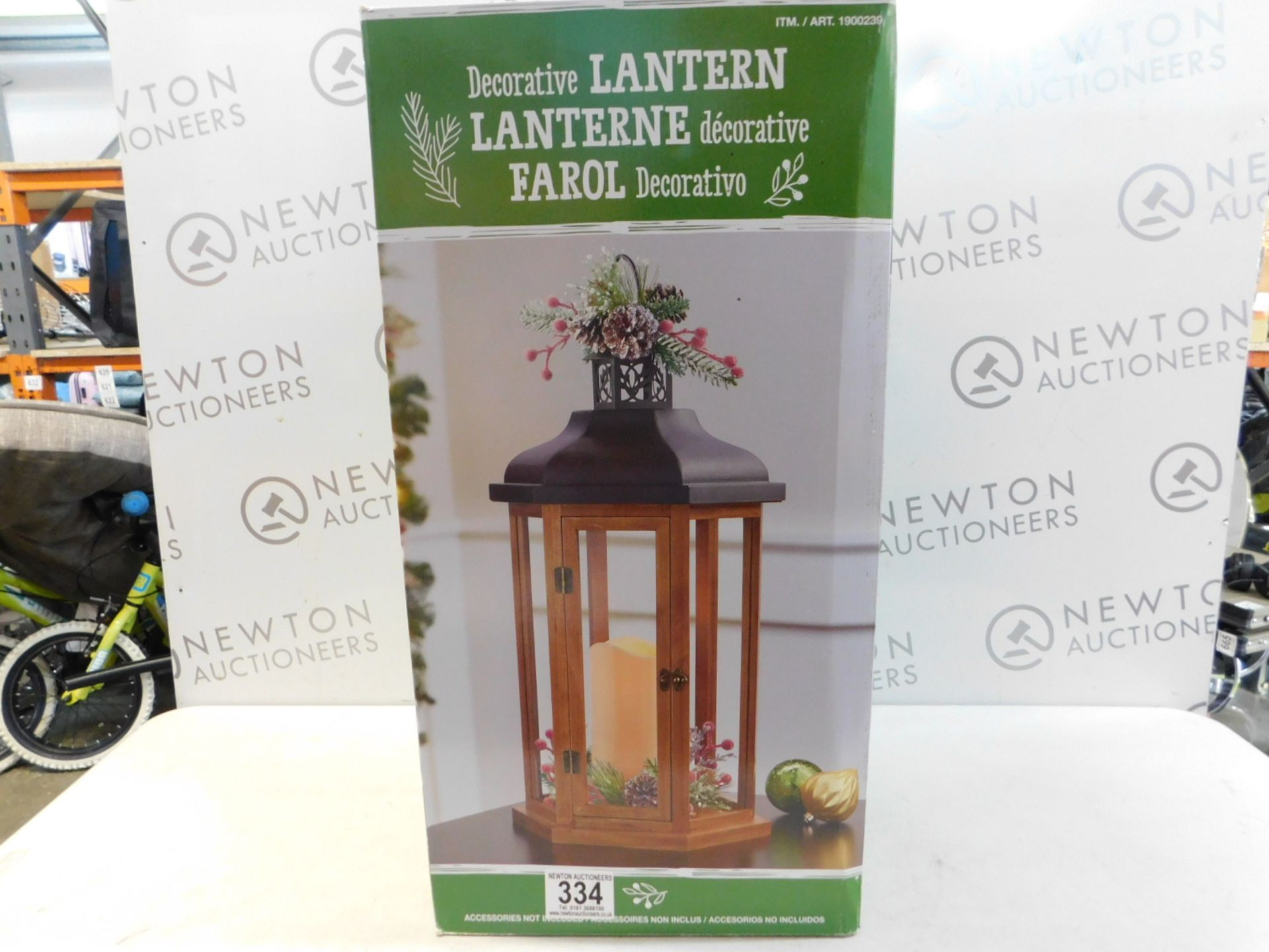 Lot 334 - 1 BOXED LARGE LANTERN WITH LED PILLAR CANDLE RRP £89.99
