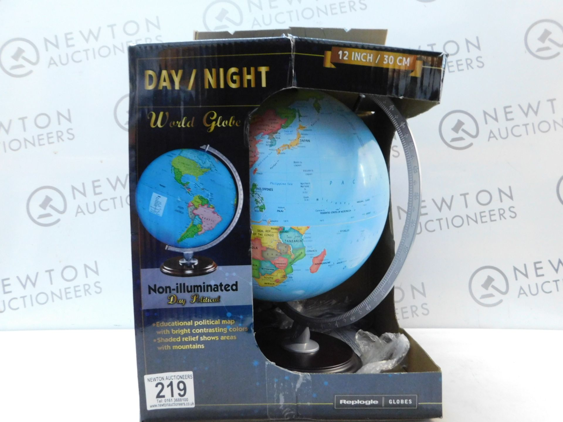 "Lot 219 - 1 BOXED REPLOGLE 12"" (30CM) DAY/ NIGHT WORLD GLOBE WITH WOODEN BASE RRP £49.99"