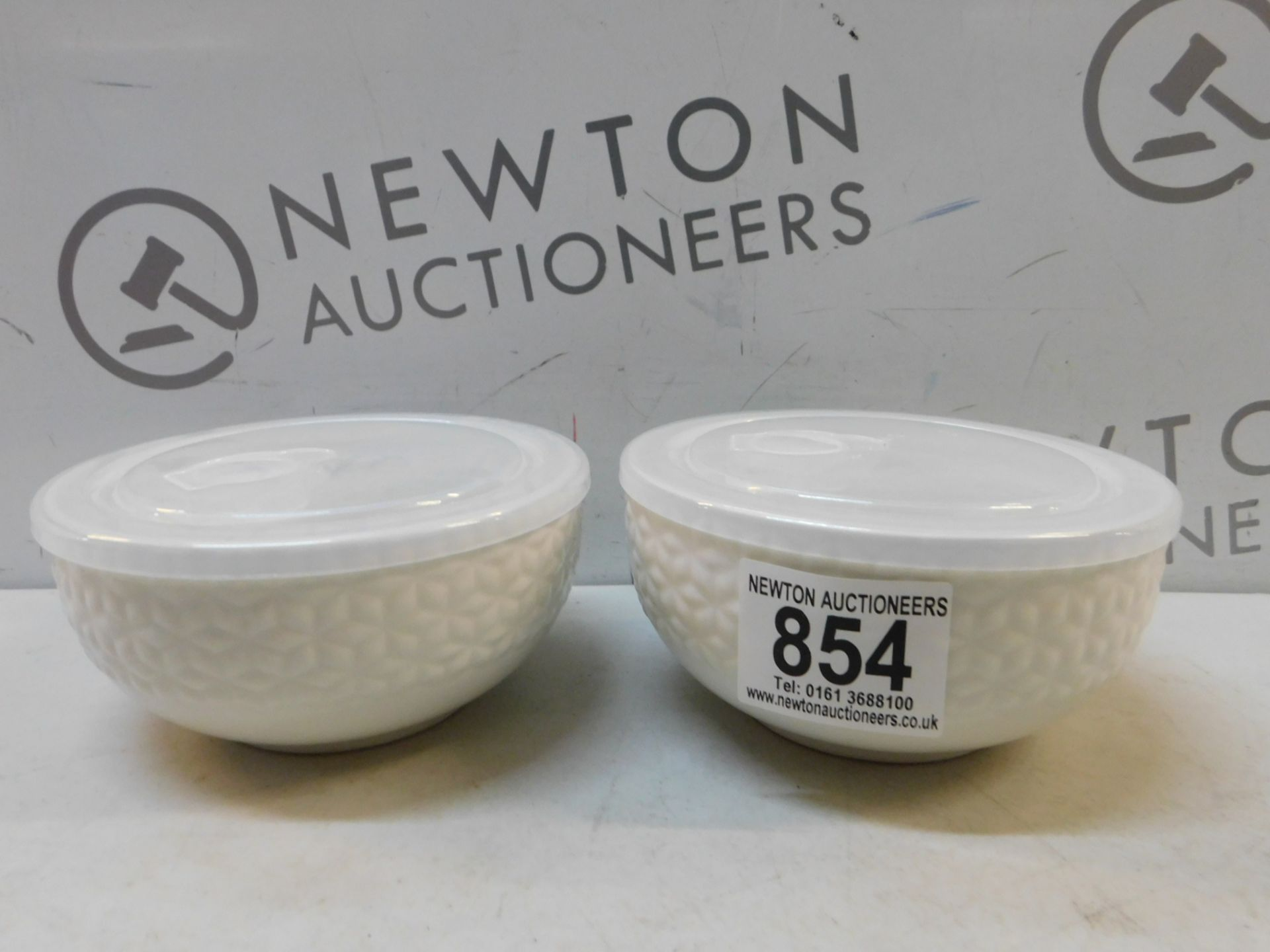 Lot 854 - 2 OVER AND BACK PORCELAIN BOWLS WITH LIDS RRP £19.99