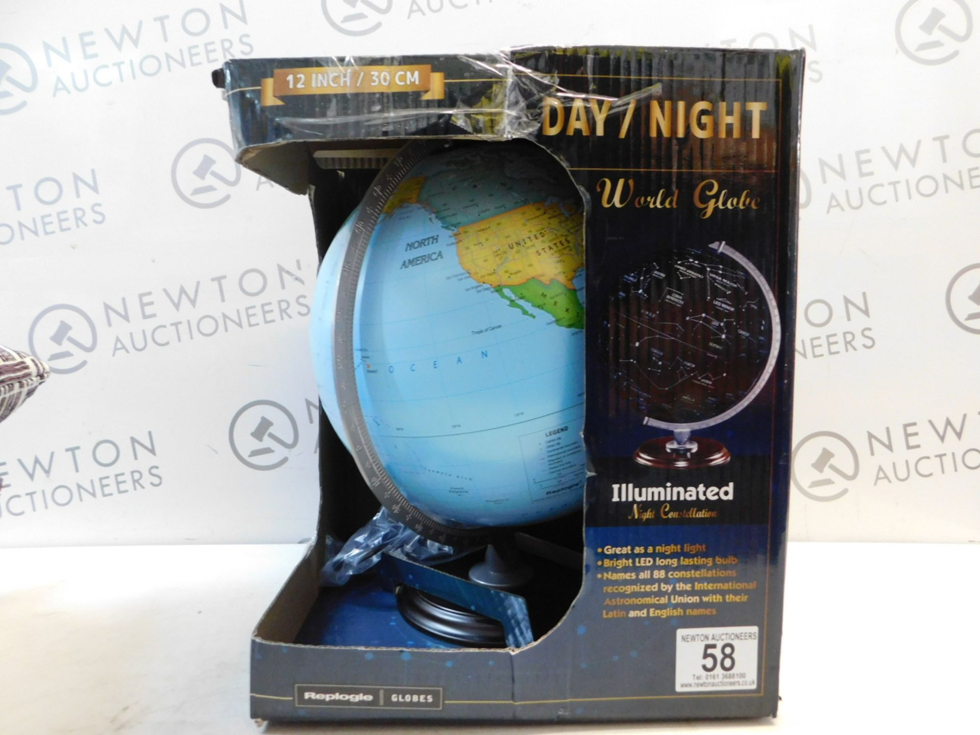 """Lot 58 - 1 BOXED REPLOGLE 12"""" (30CM) DAY/ NIGHT WORLD GLOBE WITH WOODEN BASE RRP £49.99"""
