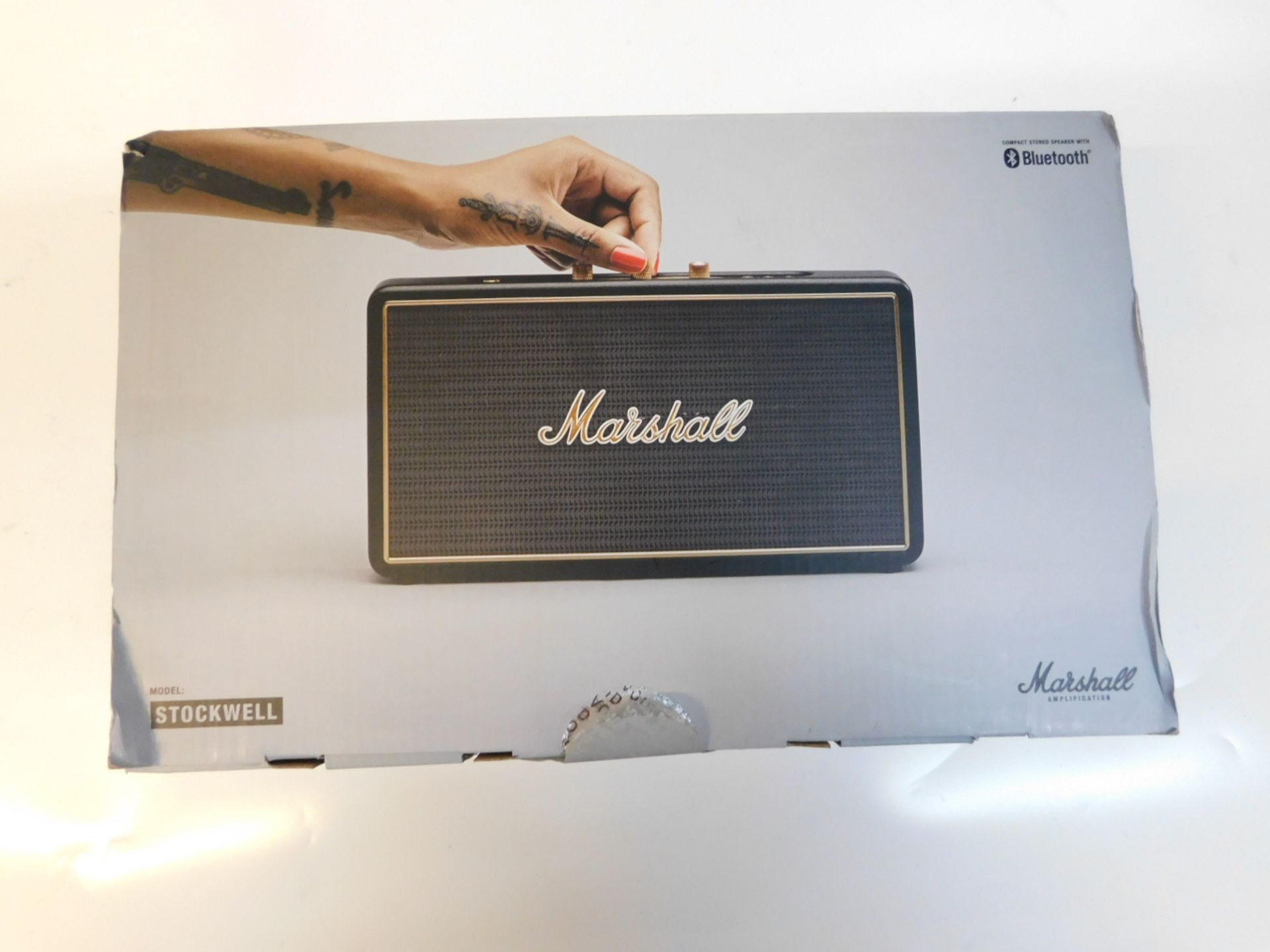 Lot 1087 - 1 BOXED MARSHALL STOCKWELL BLUETOOTH PORTABLE SPEAKER RRP £149.99