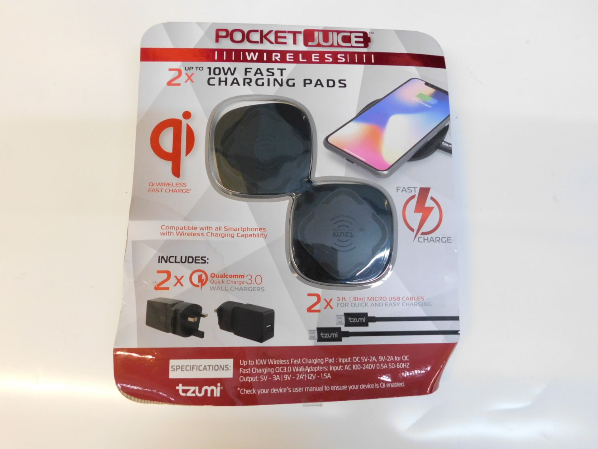 Lotto 1043 - 1 PACK OF 2 TZUMI POCKET JUICE 10W WIRELESS CHARGERS RRP £49.99