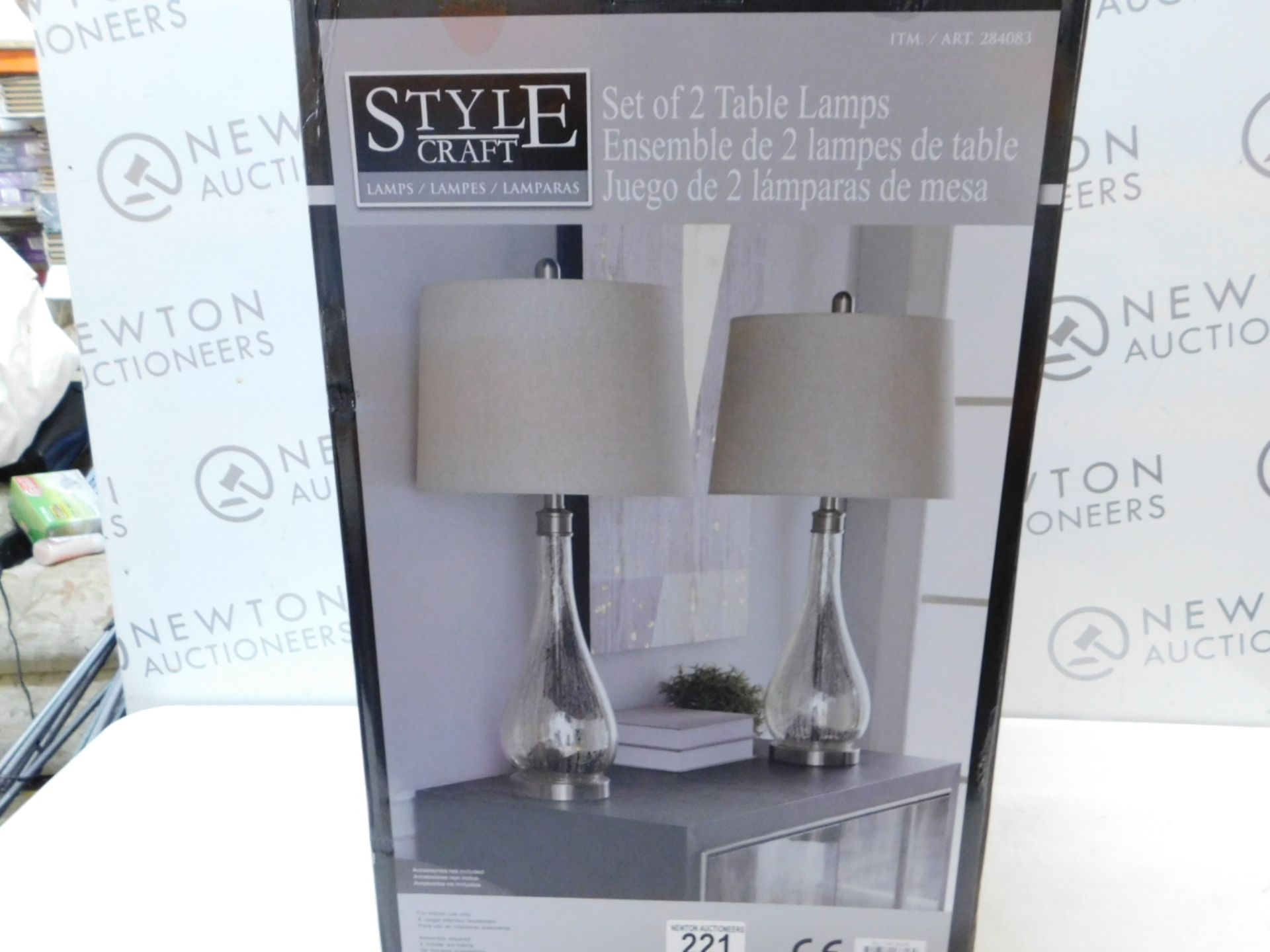 Lot 221 - 1 BOXED PAIR OF STYLE CRAFT CRYSTAL TABLE LAMPS RRP £119.99