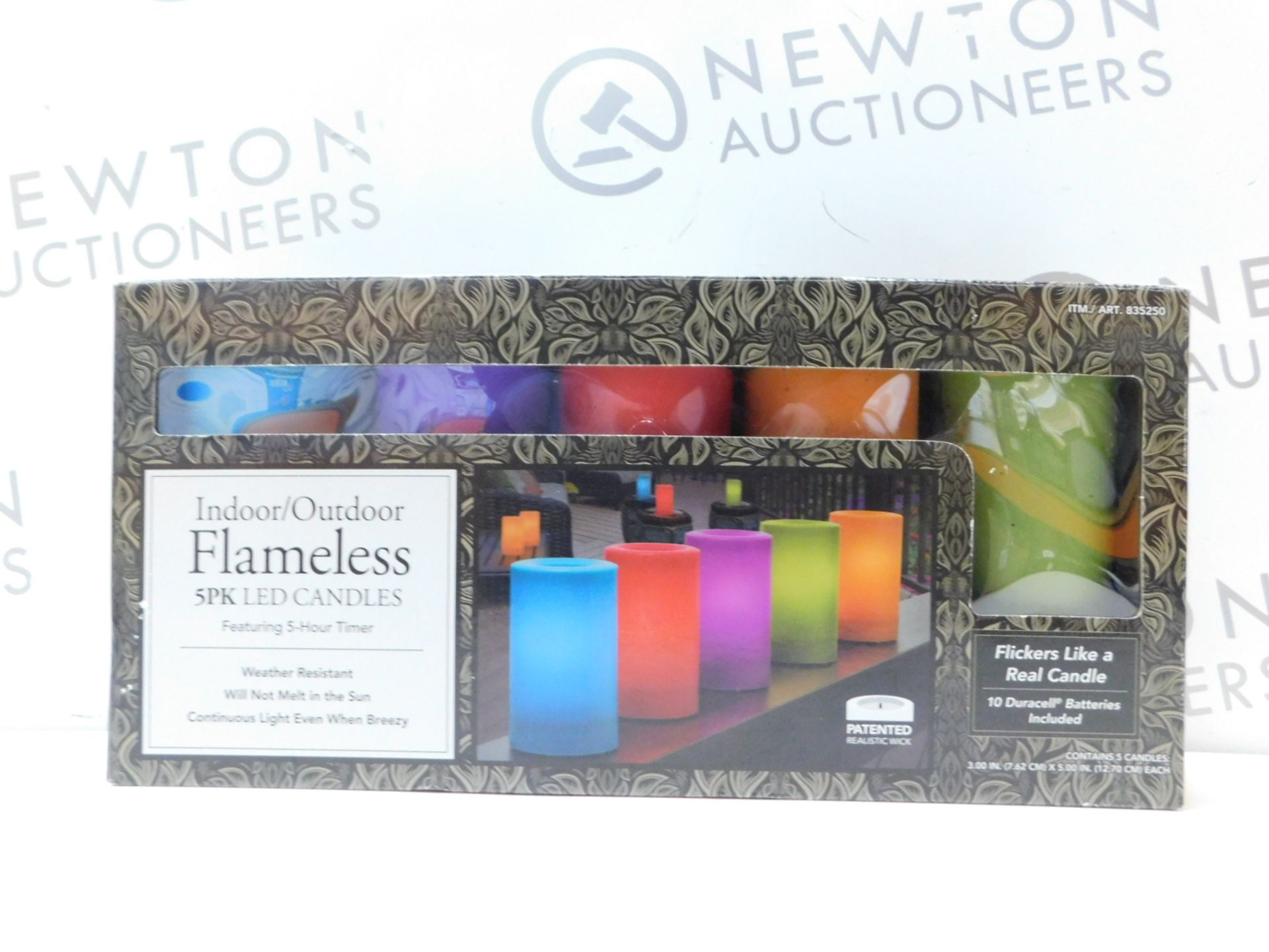 Lot 252 - 1 BOXED 5PK INDOOR/ OUTDOOR MULTI-COLOURED LED CANDLES RRP £39.99