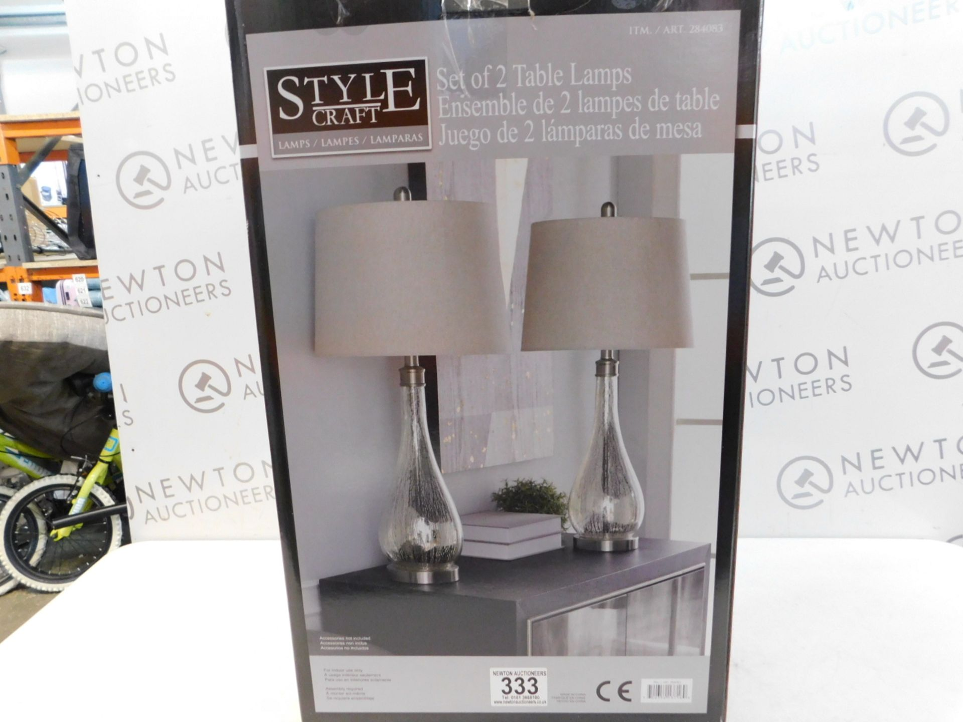 Lot 333 - 1 BOXED PAIR OF STYLE CRAFT CRYSTAL TABLE LAMPS RRP £119.99