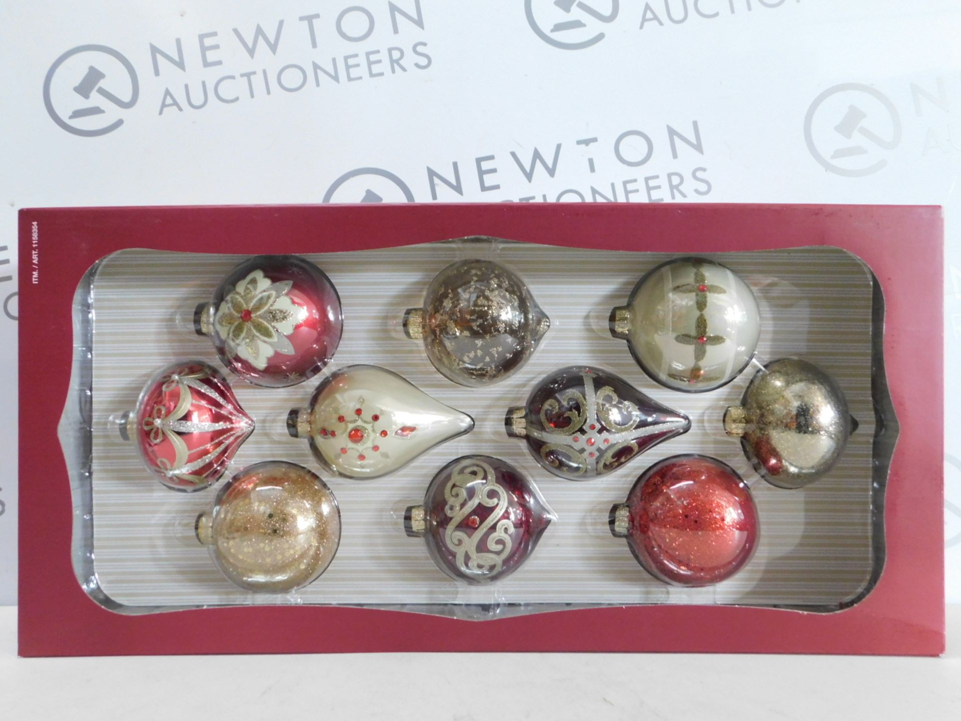 Lot 281 - 1 BRAND NEW BOXED KIRKLAND SIGNATURE 10 HAND-DECORATED GLASS ORNAMENTS RRP £29.99