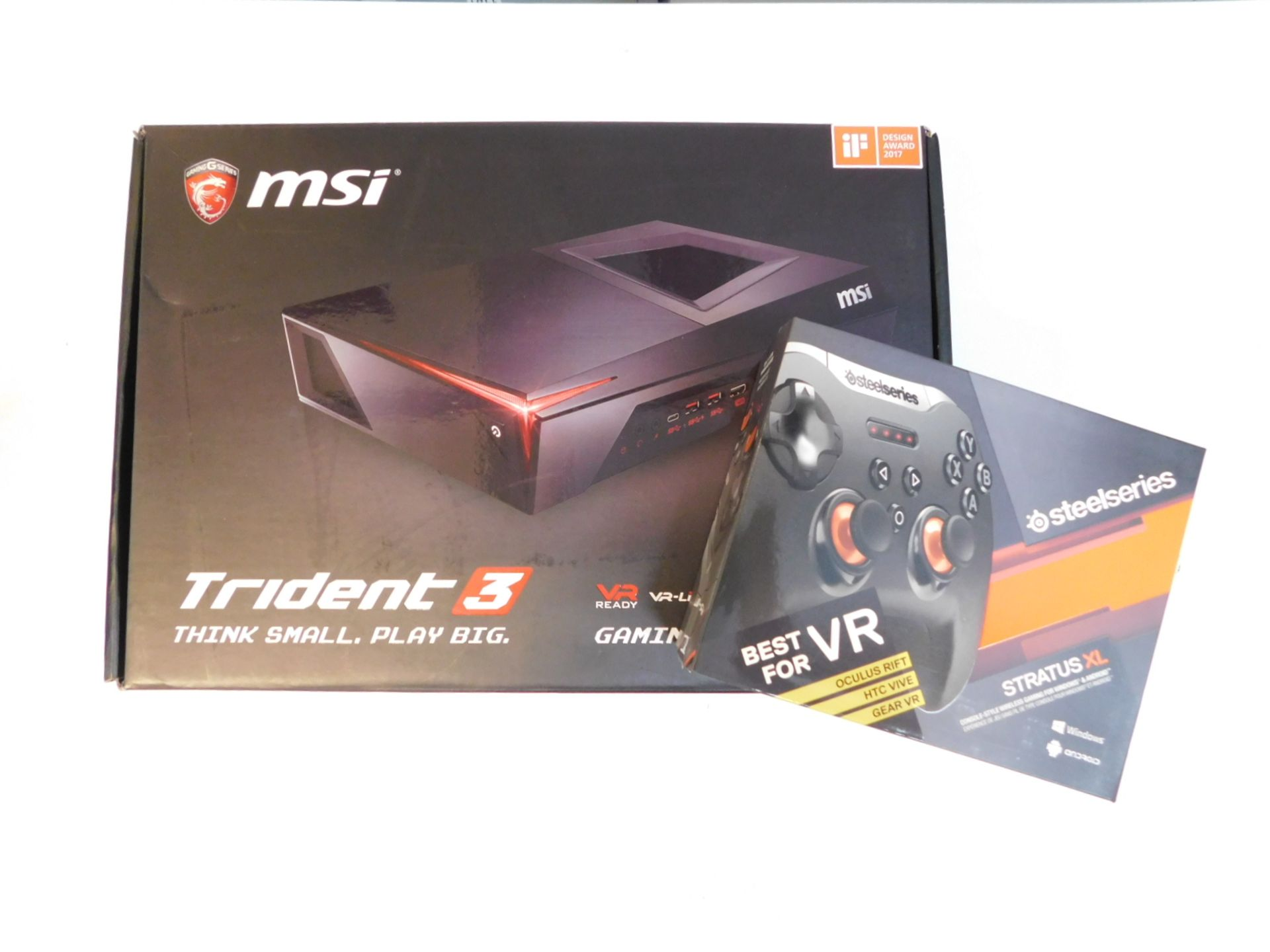 Lot 1094 - 1 BOXED MSI TRIDENT 3 GAMING DESKTOP PC WITH STRATUS XL GAME PAD, INTEL CORE I5-7400, 1TB HD, 8GB