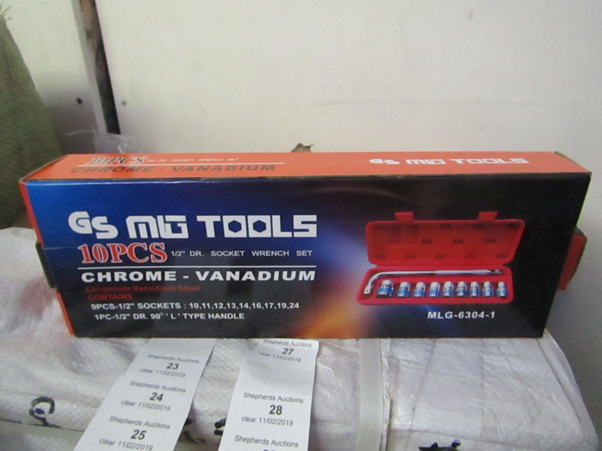 Lot 28 - 10 piece Chrome Vanadium Socket wrench set, new