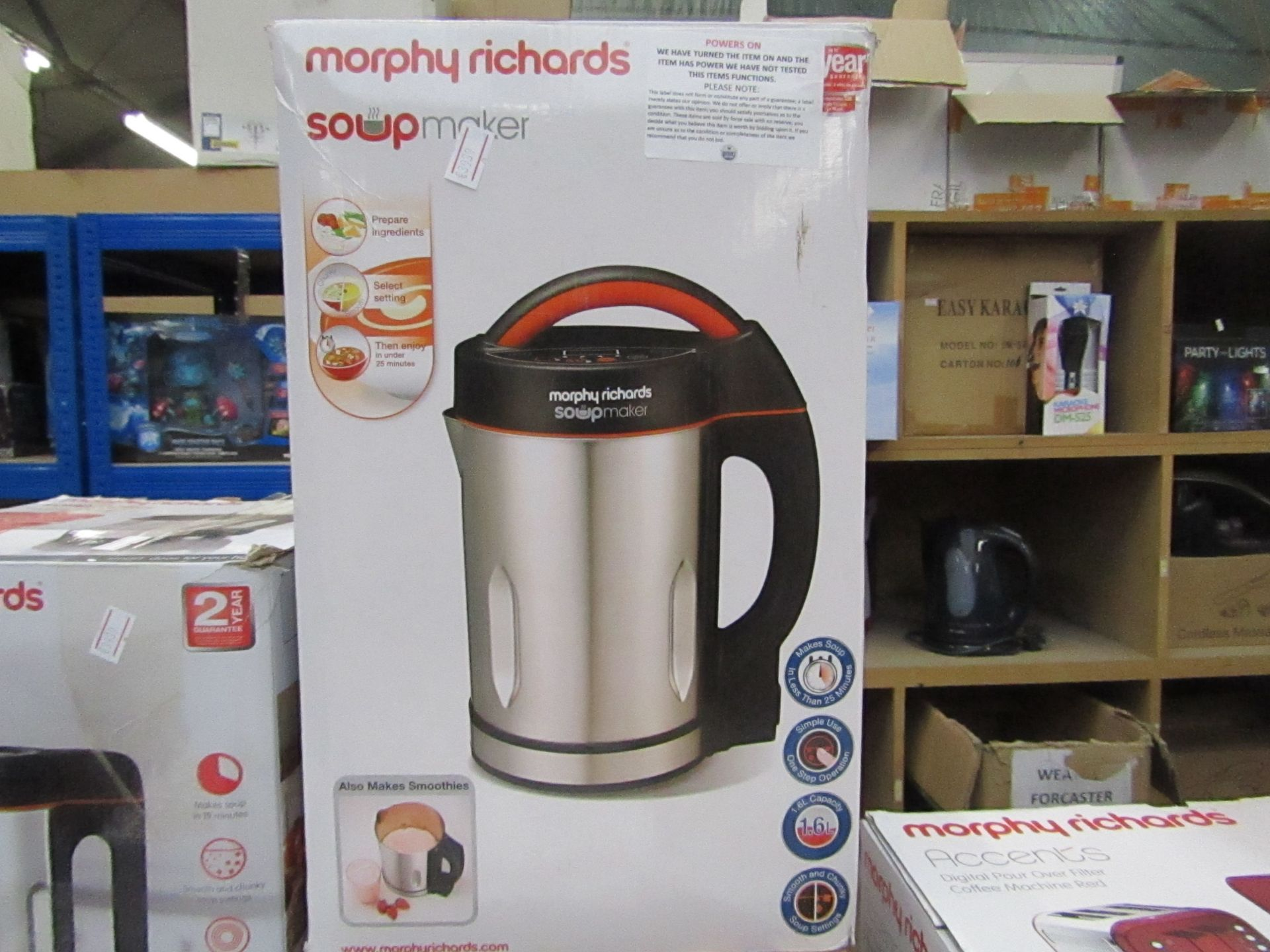 Lot 15 - Morphy Richards soup maker, powers on and boxed