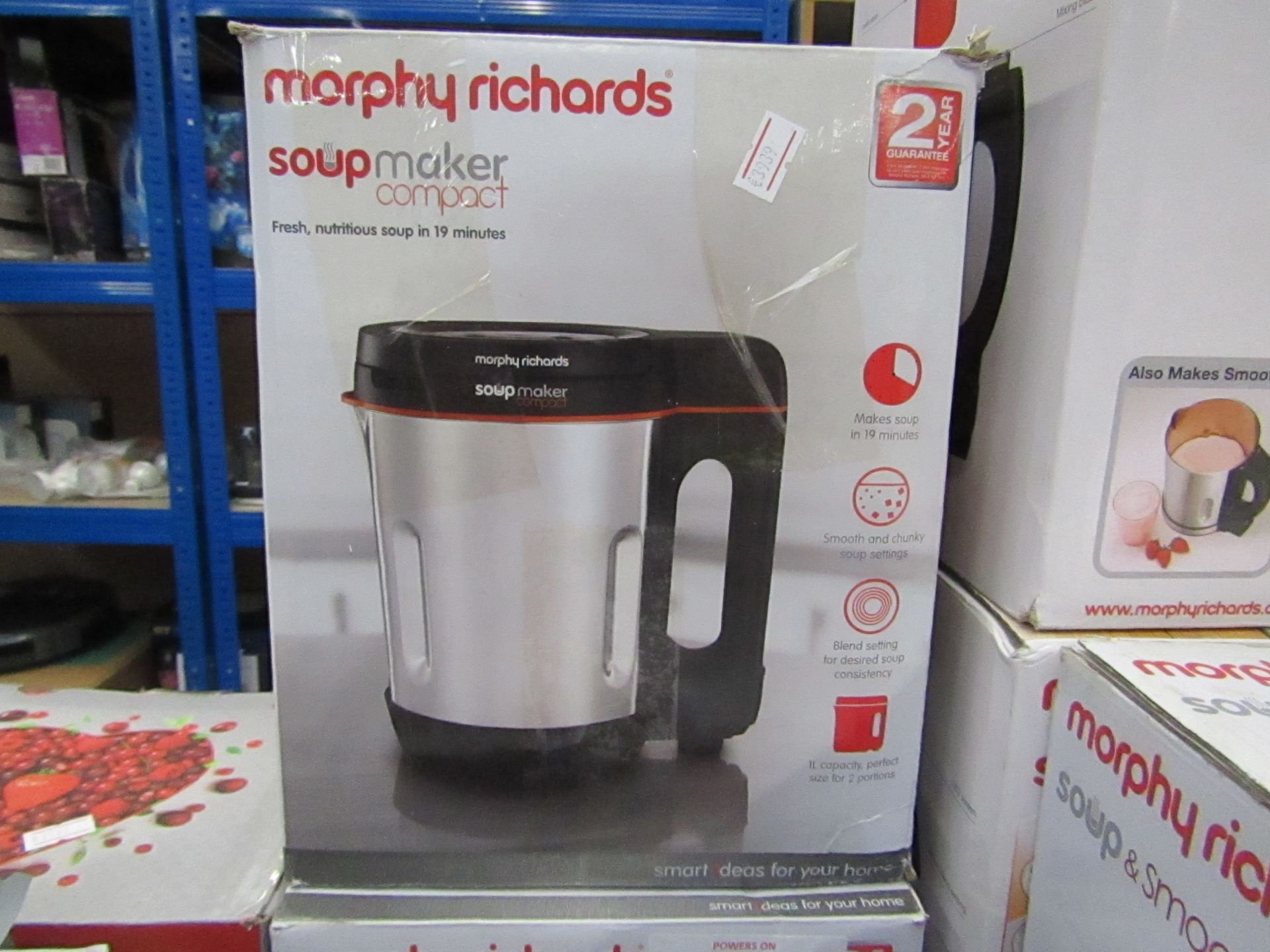 Lot 11 - Morphy Richards soup maker compact powers on and boxed