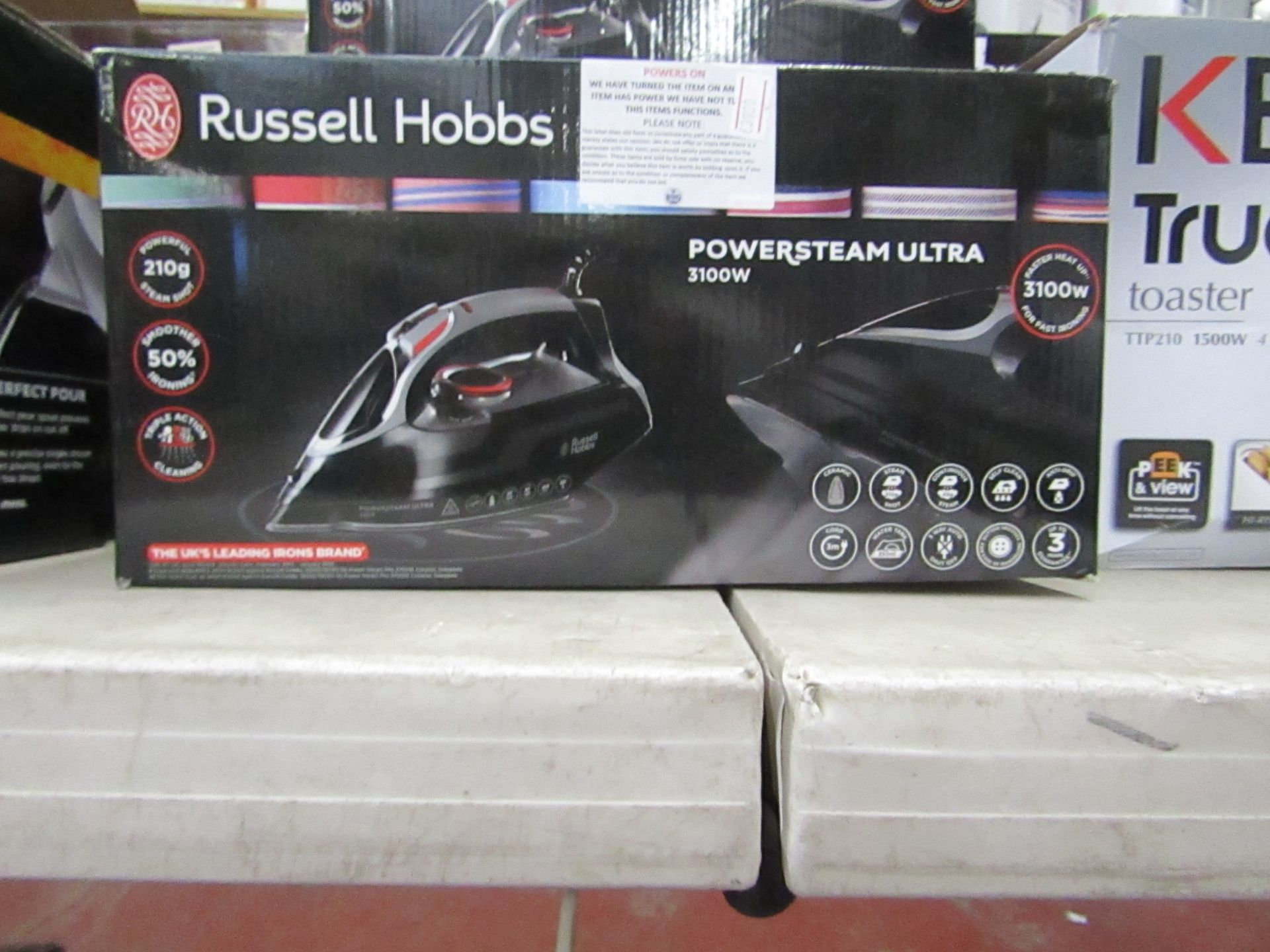 Lot 34 - Russell Hobbs Power steam ultra iron powers on and boxed