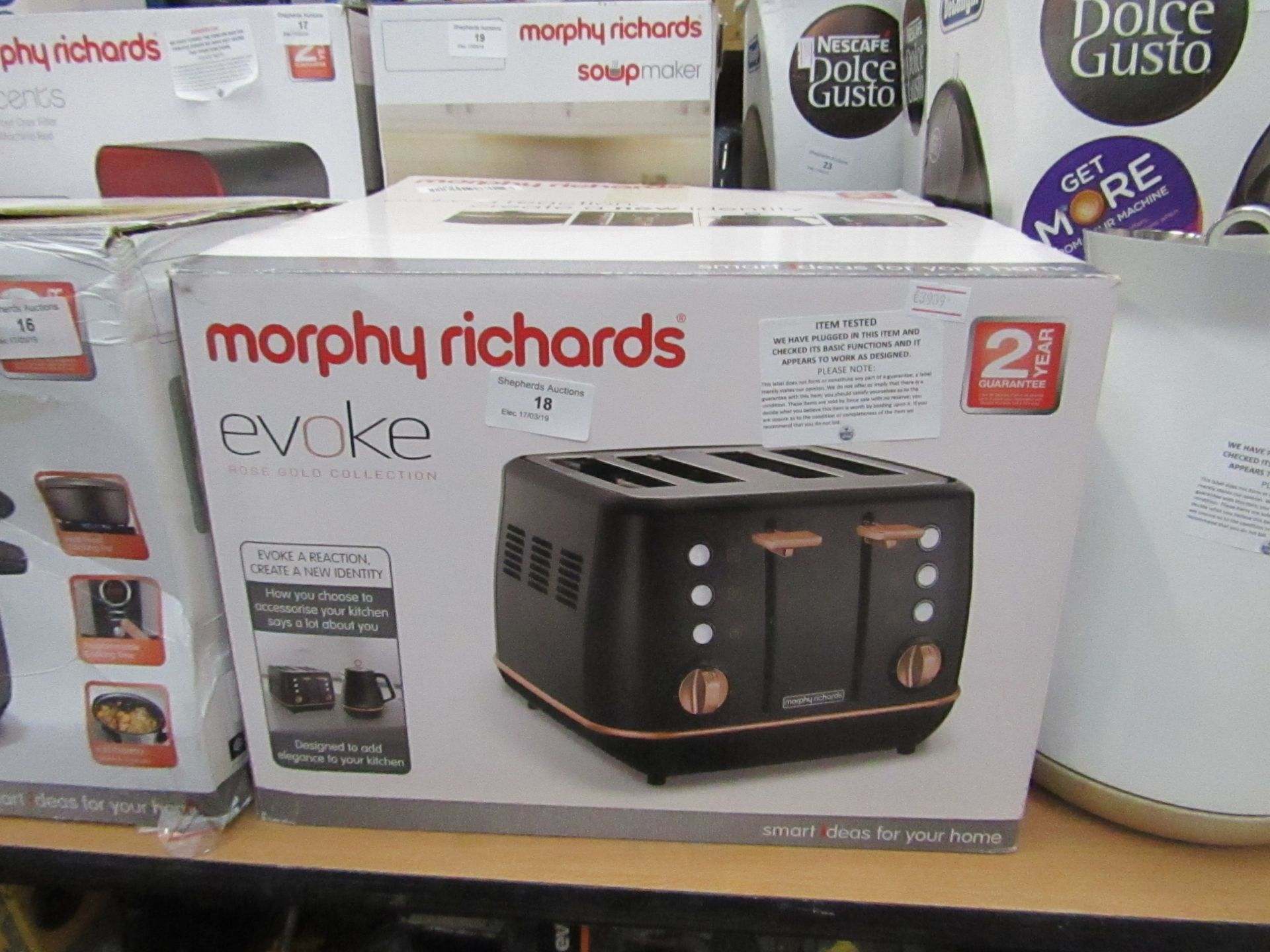 Lot 18 - Morphy Richards 4 sliced toaster, tested working and boxed
