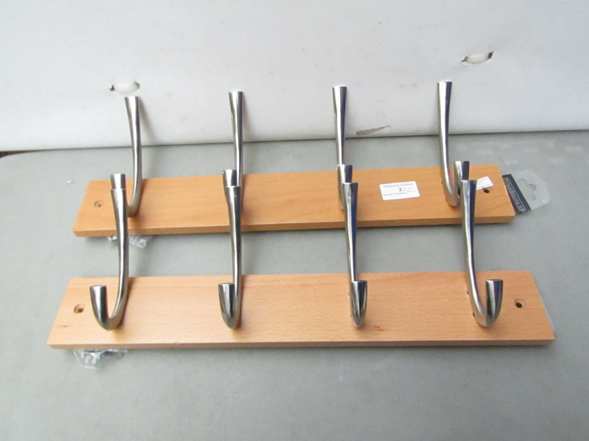 Lot 2 - 2x Four Hook Coat Hangers with Fixings. NEW