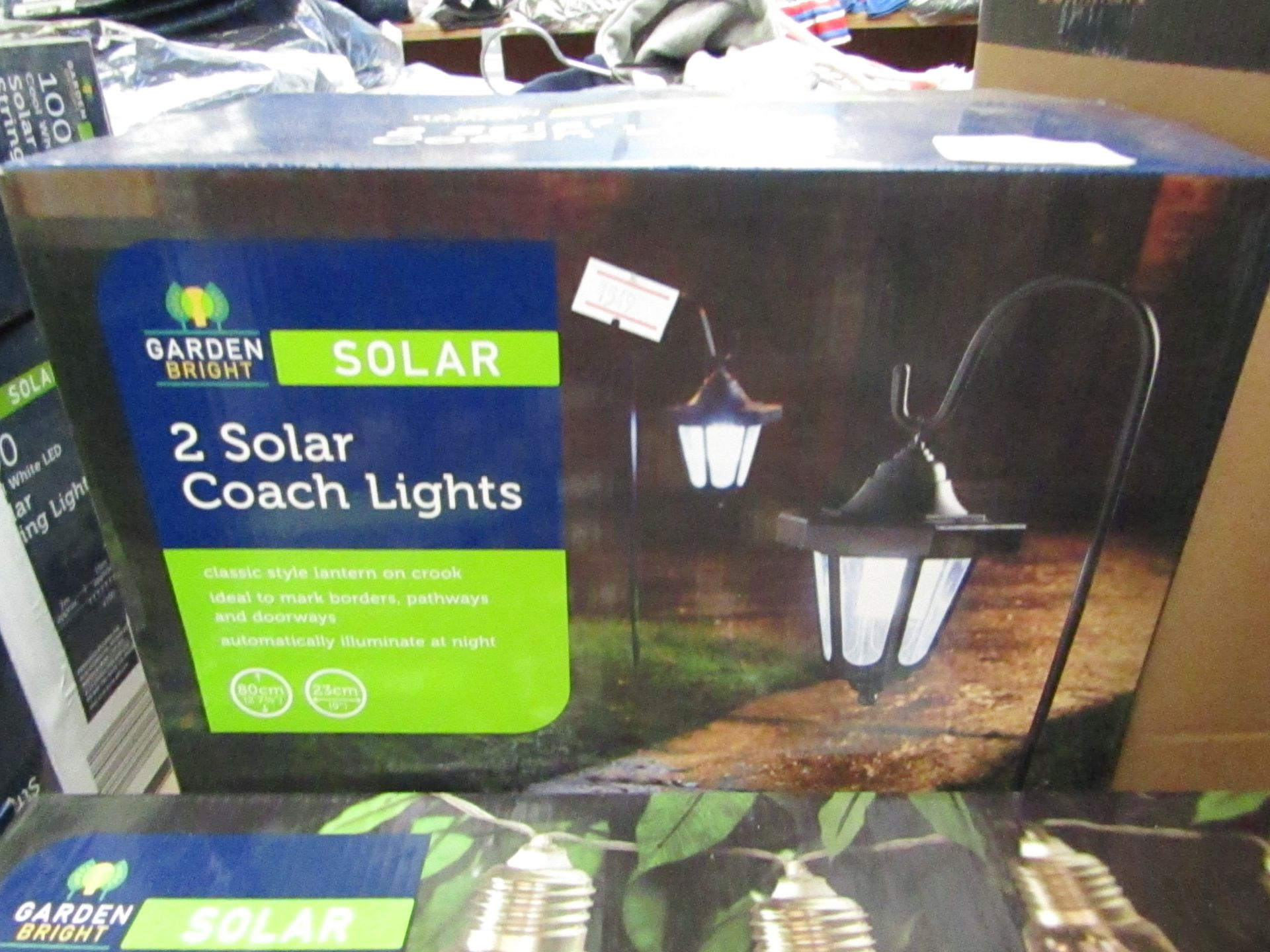 Lot 11 - 2 SOLAR Coach Lights, Automatically Illuminate at night. Boxed