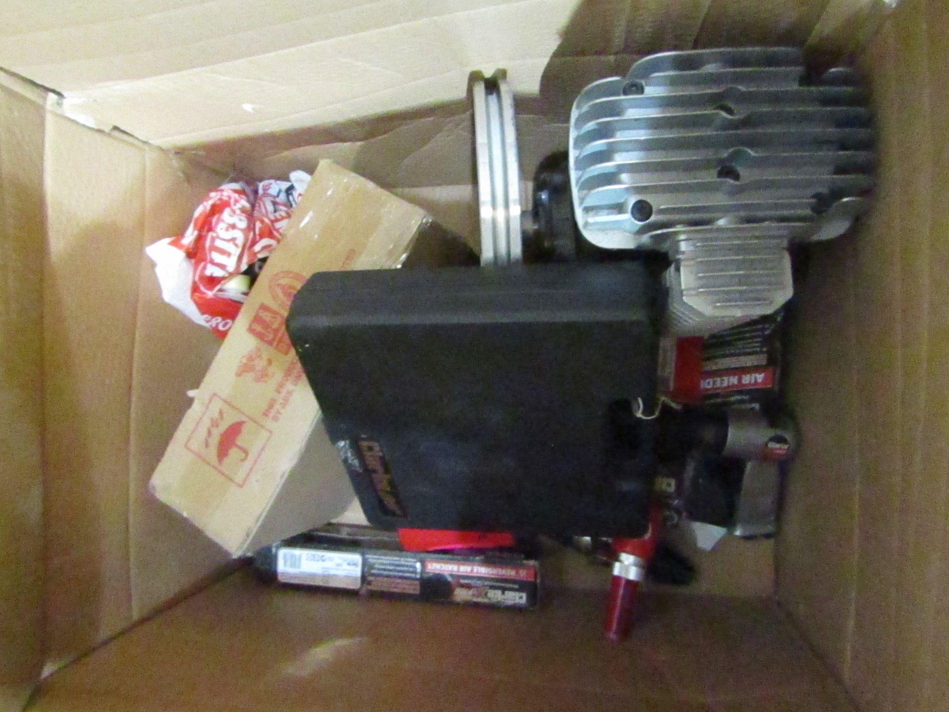 Lot 13 - 9x Items being; Clarke NH4APN Air Compressor Pump - £190.80 Clarke X-Pro CAT170 Air Needle Scaler