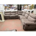 Lot 32 - Kuka Cinema Sofa with 3 manual reclining parts, a Cup holder piece with storage, all reclining parts
