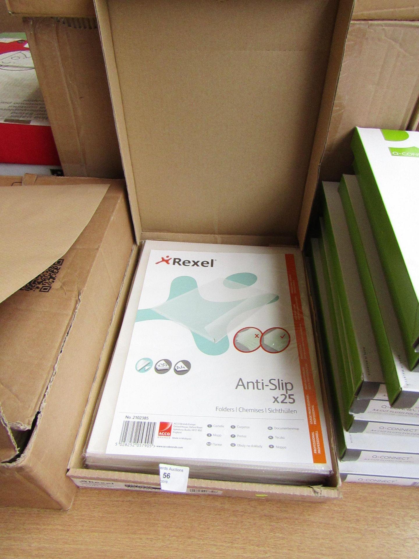 Lot 56 - Box of approx 25 Rexel Non Slip folders, unused