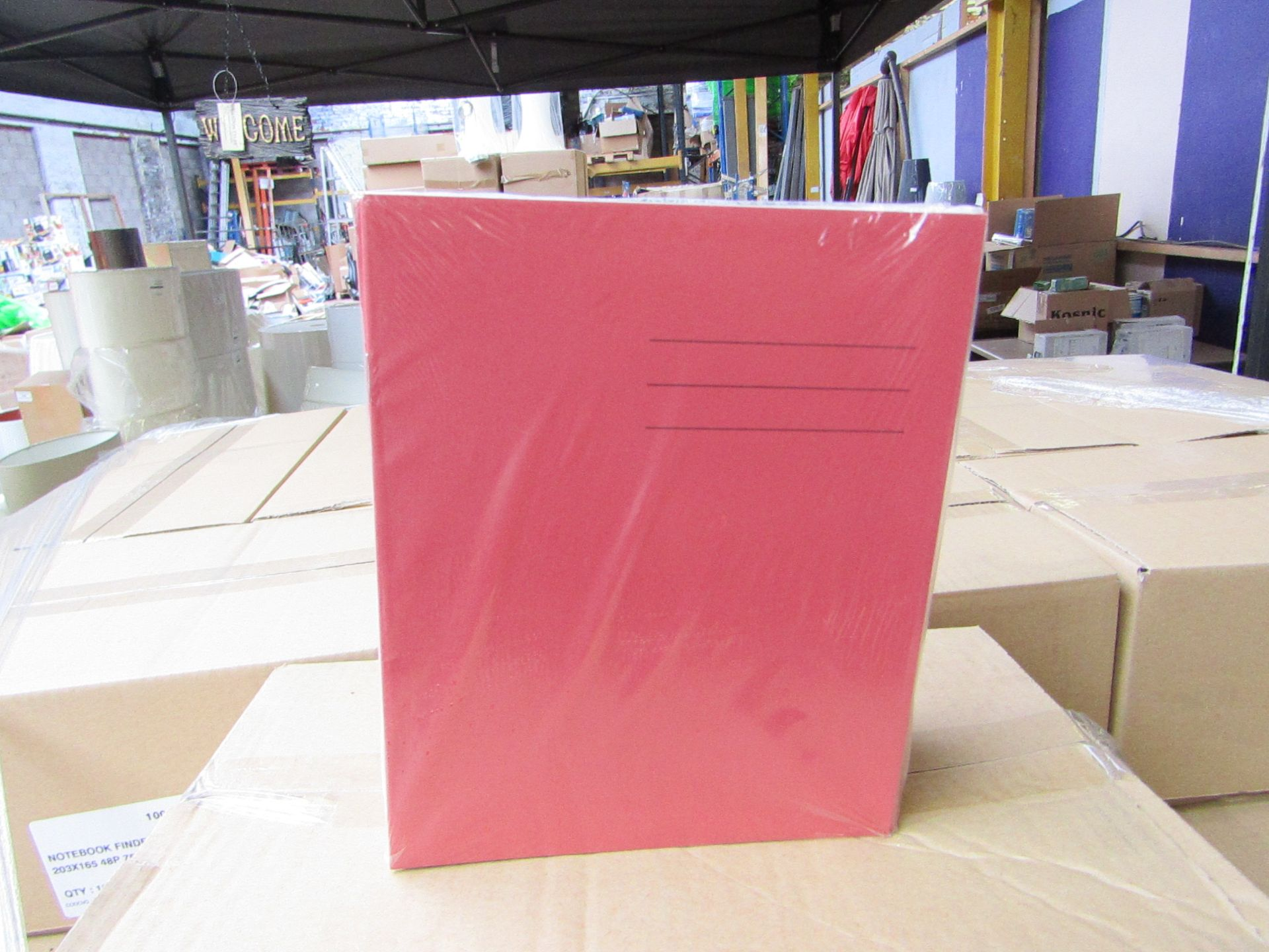 Lot 18 - Box of approx 100 Exercise books, please note these are picked from a mixed pallet and colours may