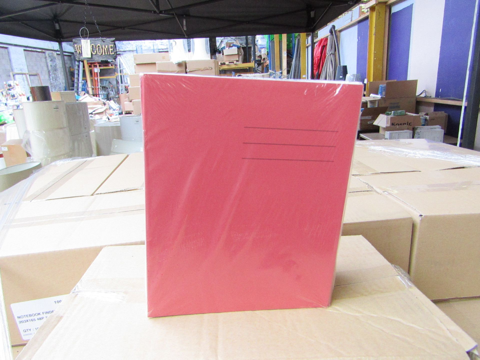 Lot 8 - Box of approx 100 Exercise books, please note these are picked from a mixed pallet and colours may