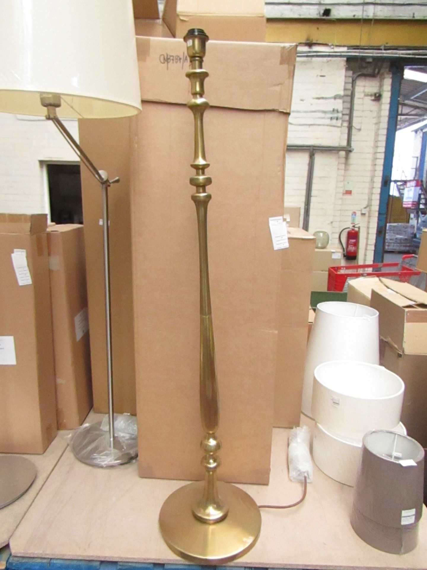 Lot 4 - Brass effect floor lamp with box