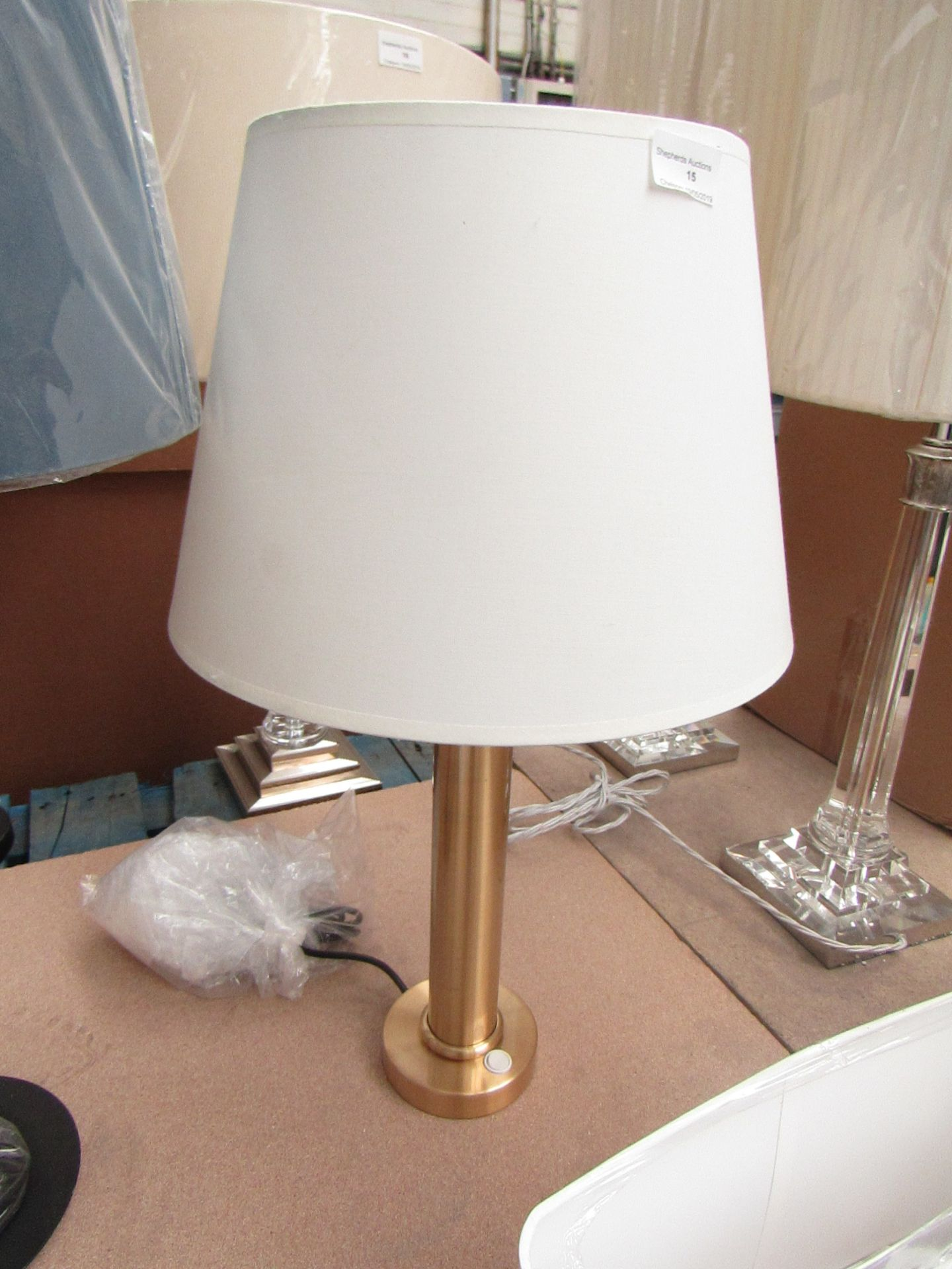 Lot 15 - Brass effect table, lamp