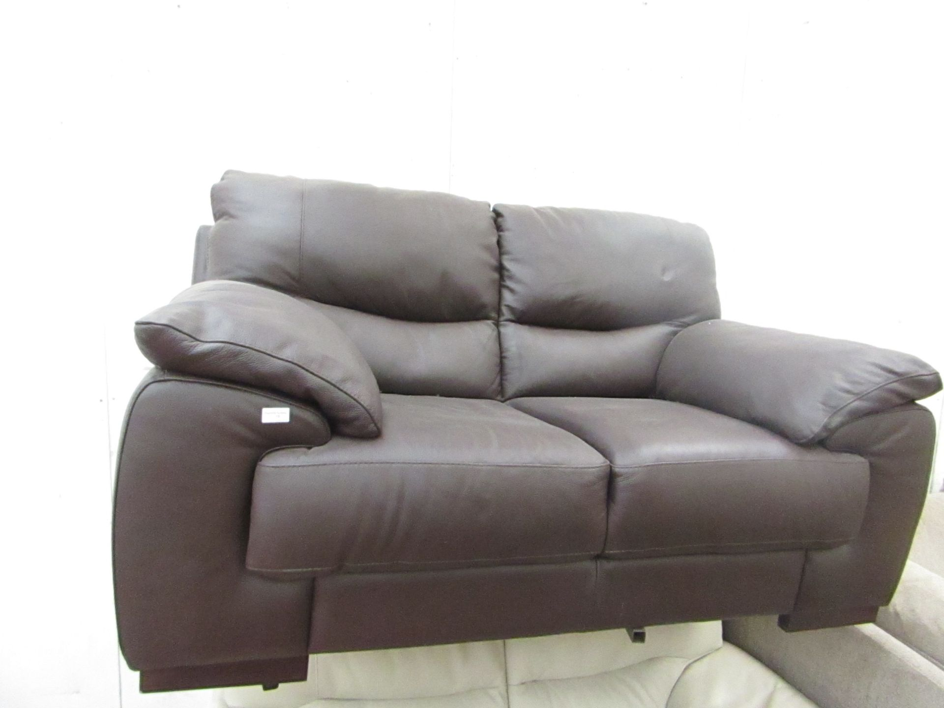 Lot 15 - 2 seater Brown Leather sofa.