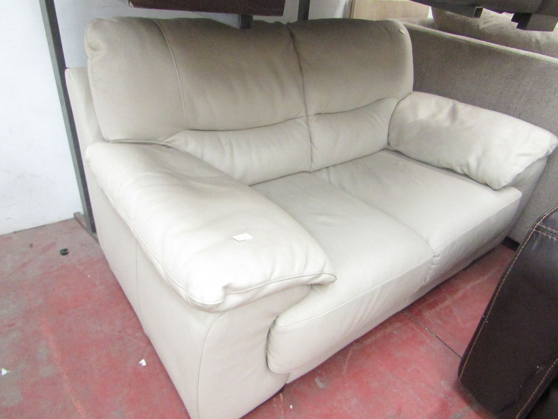 Lot 14 - Costco Italian Leather 2 seater cream sofa