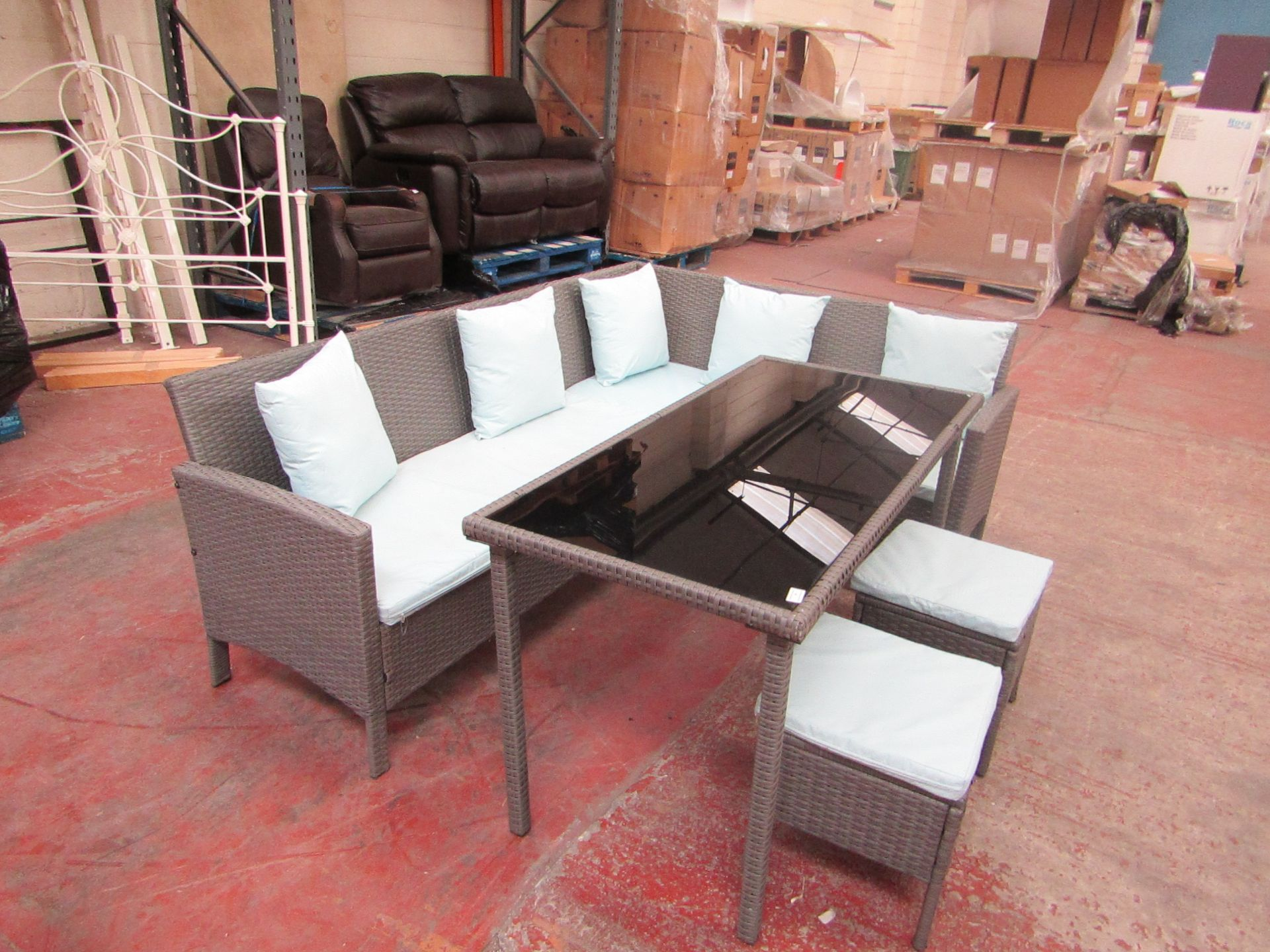 Lot 25 - Rattan corner sofa dining set