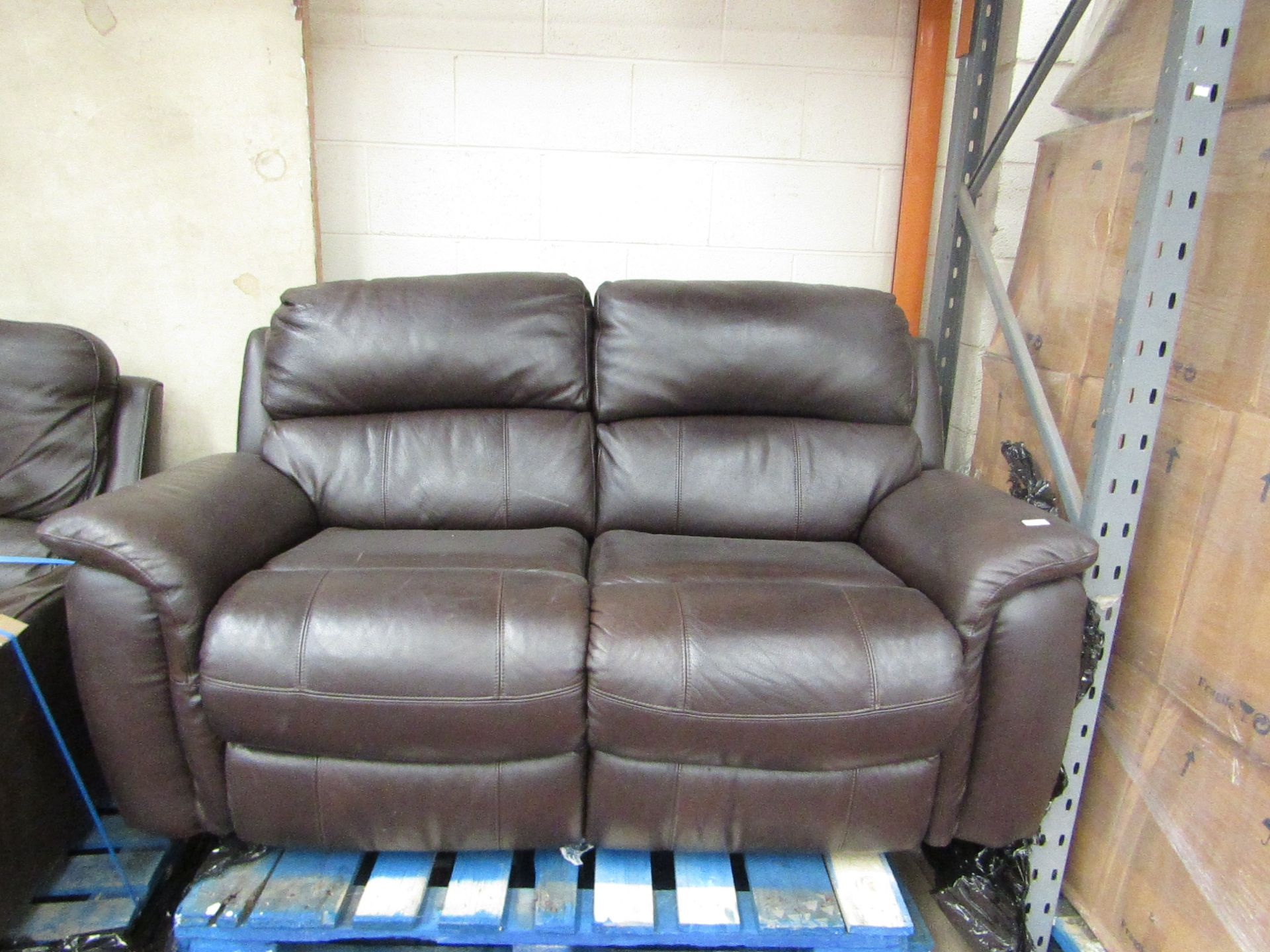 Lot 1 - 2 seater Leather manual reclining sofa, mechanism is tested working