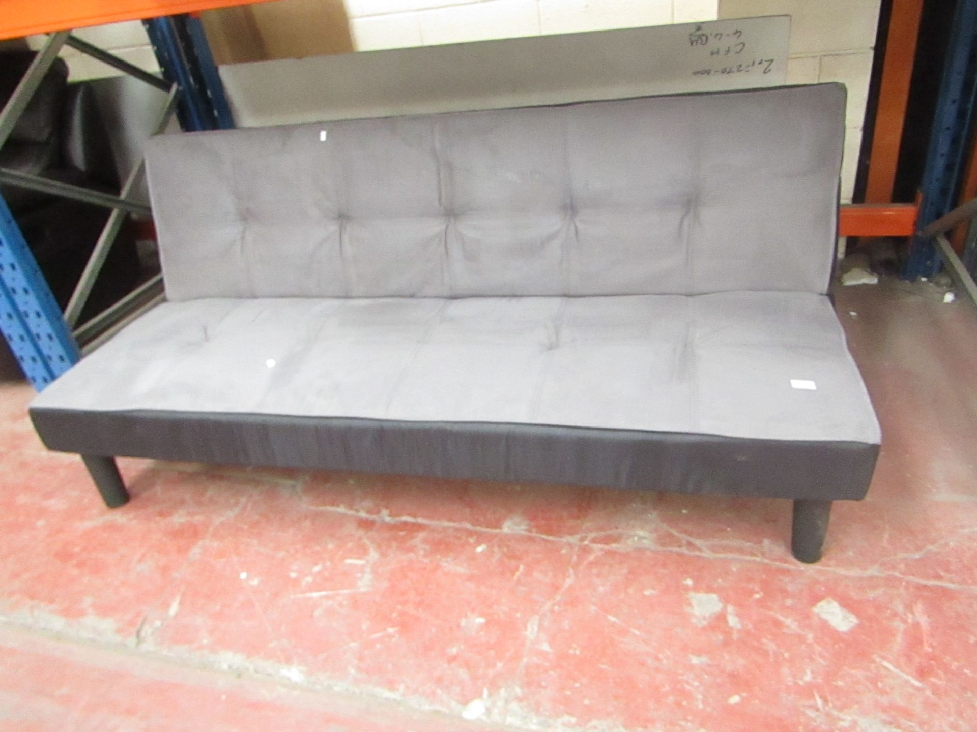 Lot 6 - Grey Sofa bed with drop down back.