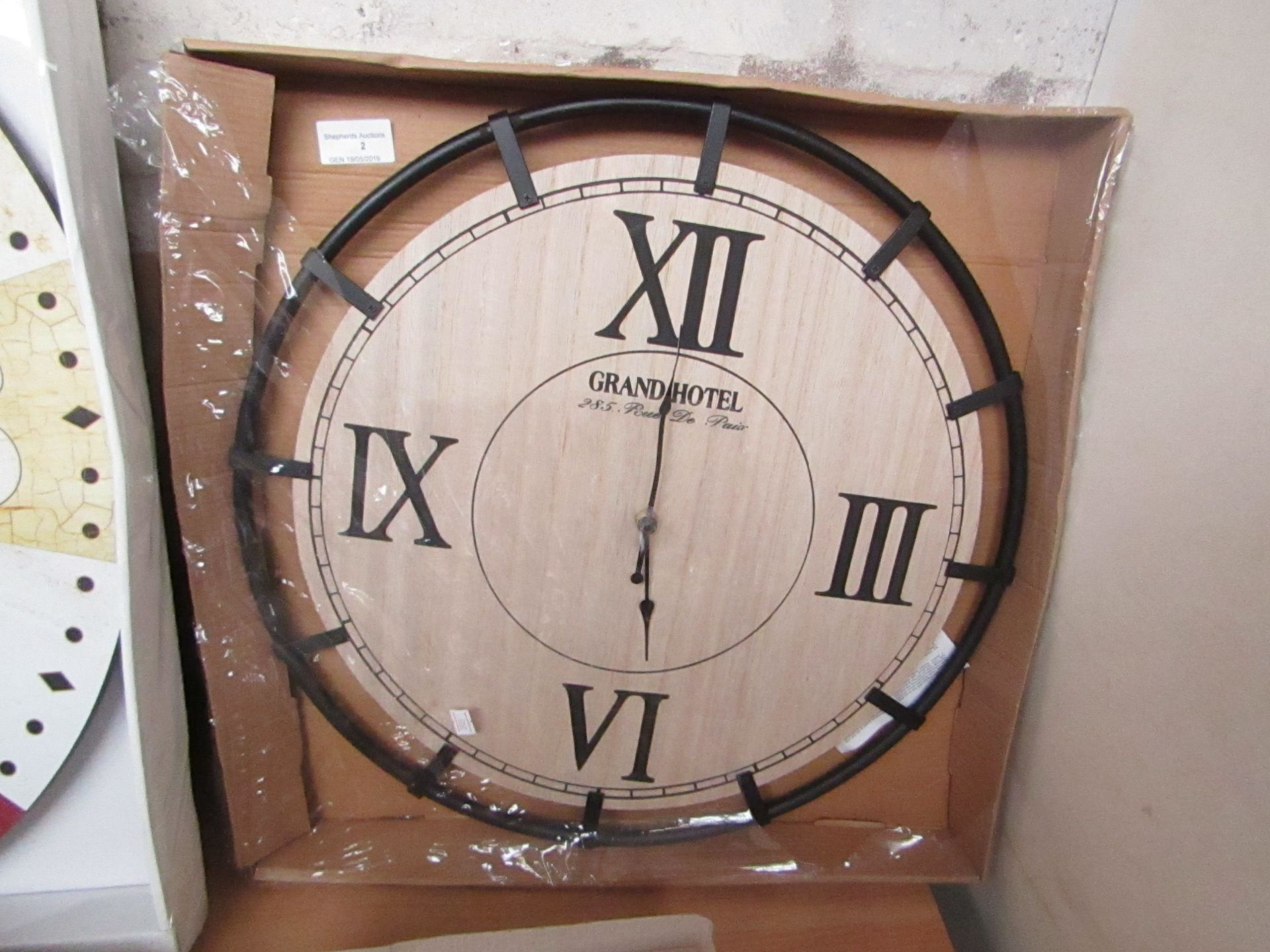Lot 2 - Grand Hotel Wall Clock 46 cm packaged unchecked