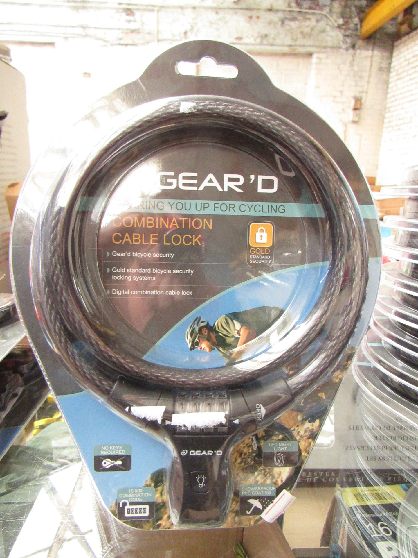 Lot 37 - 2 x Gear D Combination Cable Lock new & Packaged