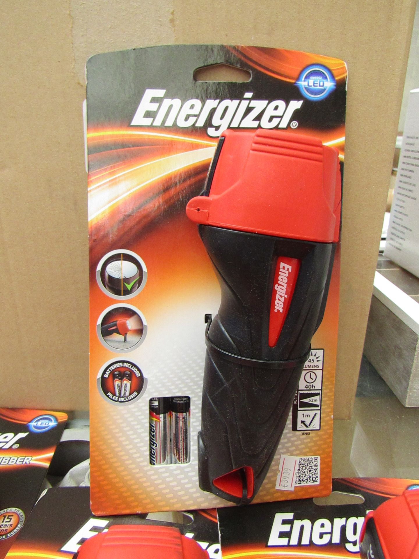 Lot 56 - Energizer LED Torch Impact rubber, comes with batteries. New