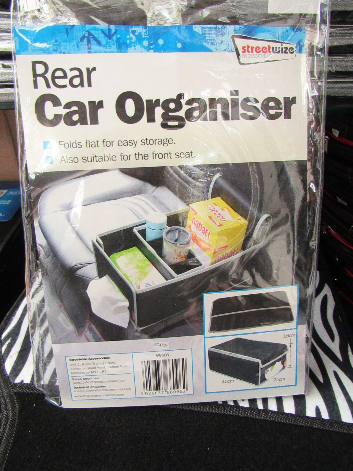 Lot 25 - 2 x Streetwize Car organisers, folds flat for easy storage, also suitable for front seat,new &