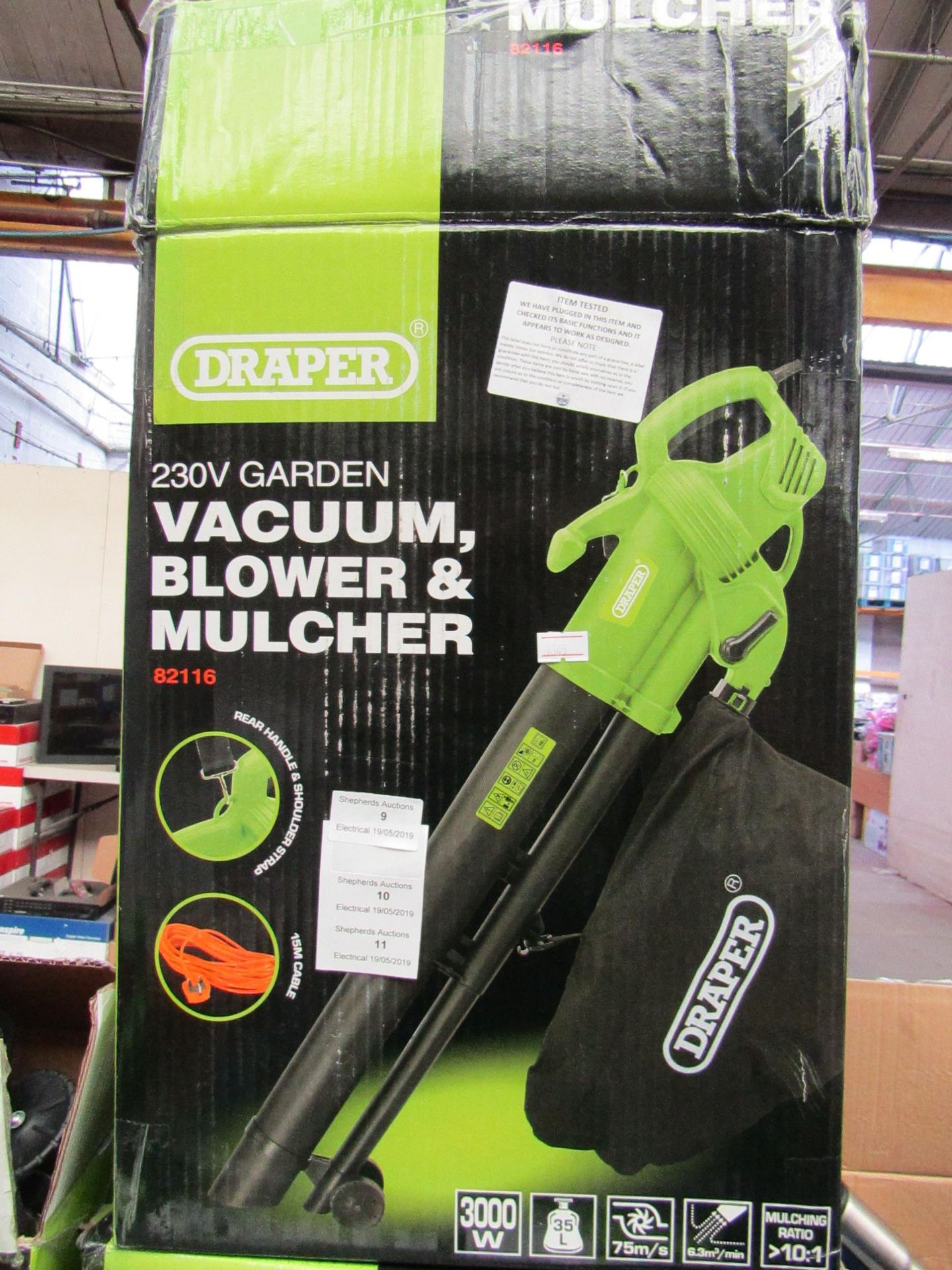 Lot 11 - Draper 230V Garden Vacuum, Blower & Mulcher , Tested Working & Boxed
