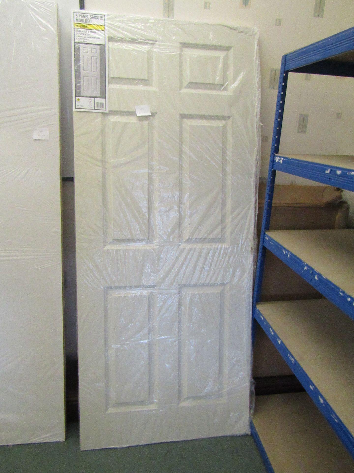 Lot 40 - Premdoor 6 Panel smooth interior door 838mm wide, unused