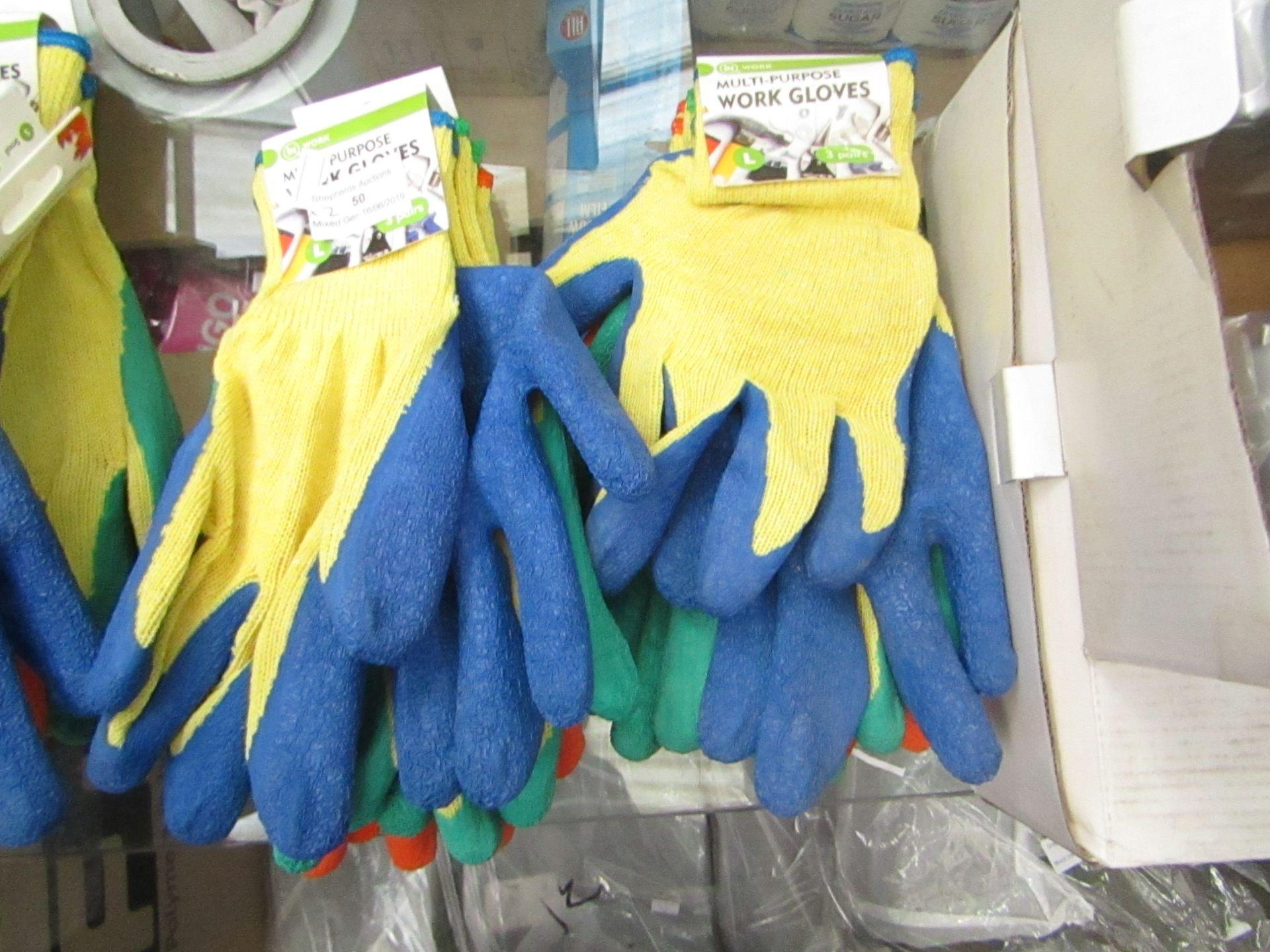 Lot 50 - 2 x packs of 3 Multi Purpose work gloves, new in packaging