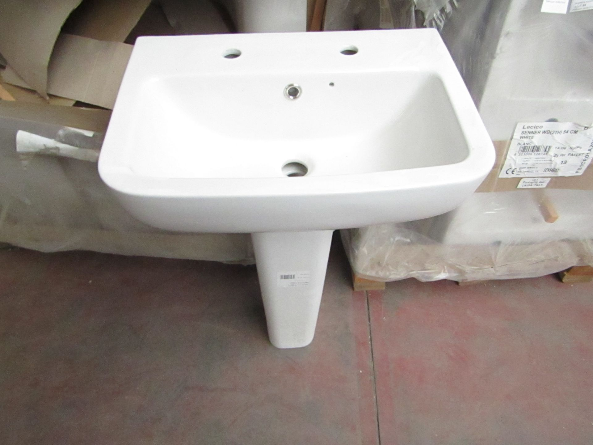 Lecico Senner 2 tap hole basin 54cm with neroli full pedestal that appears to fit the basin, unused