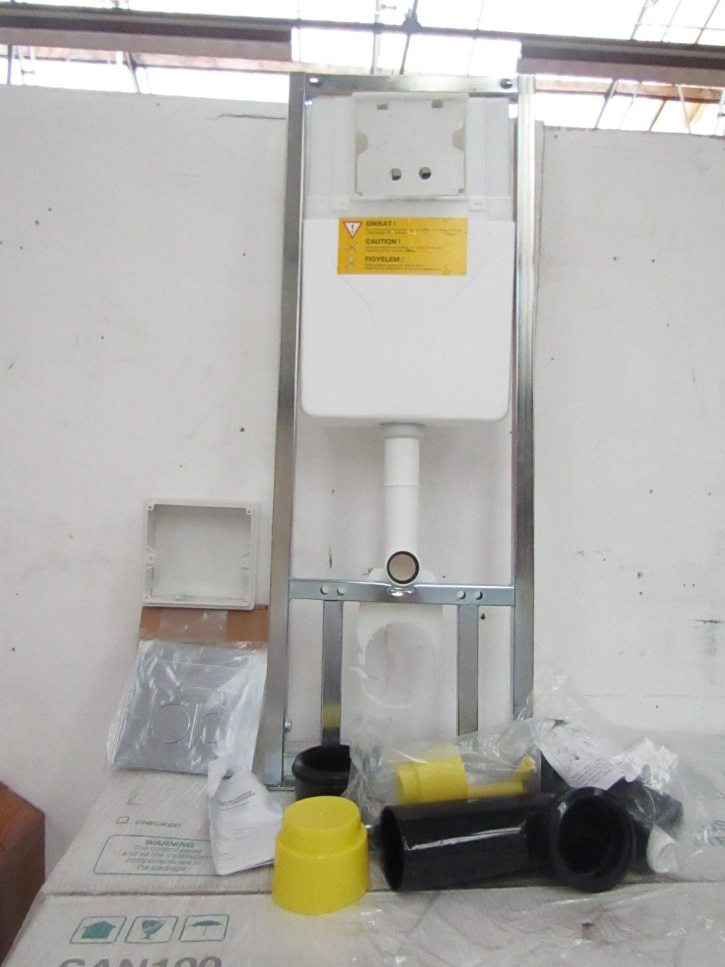 Lot 19 - SAN100 Wall or Floor mounted toilet frame with concealed cistern and dual flush plate included,