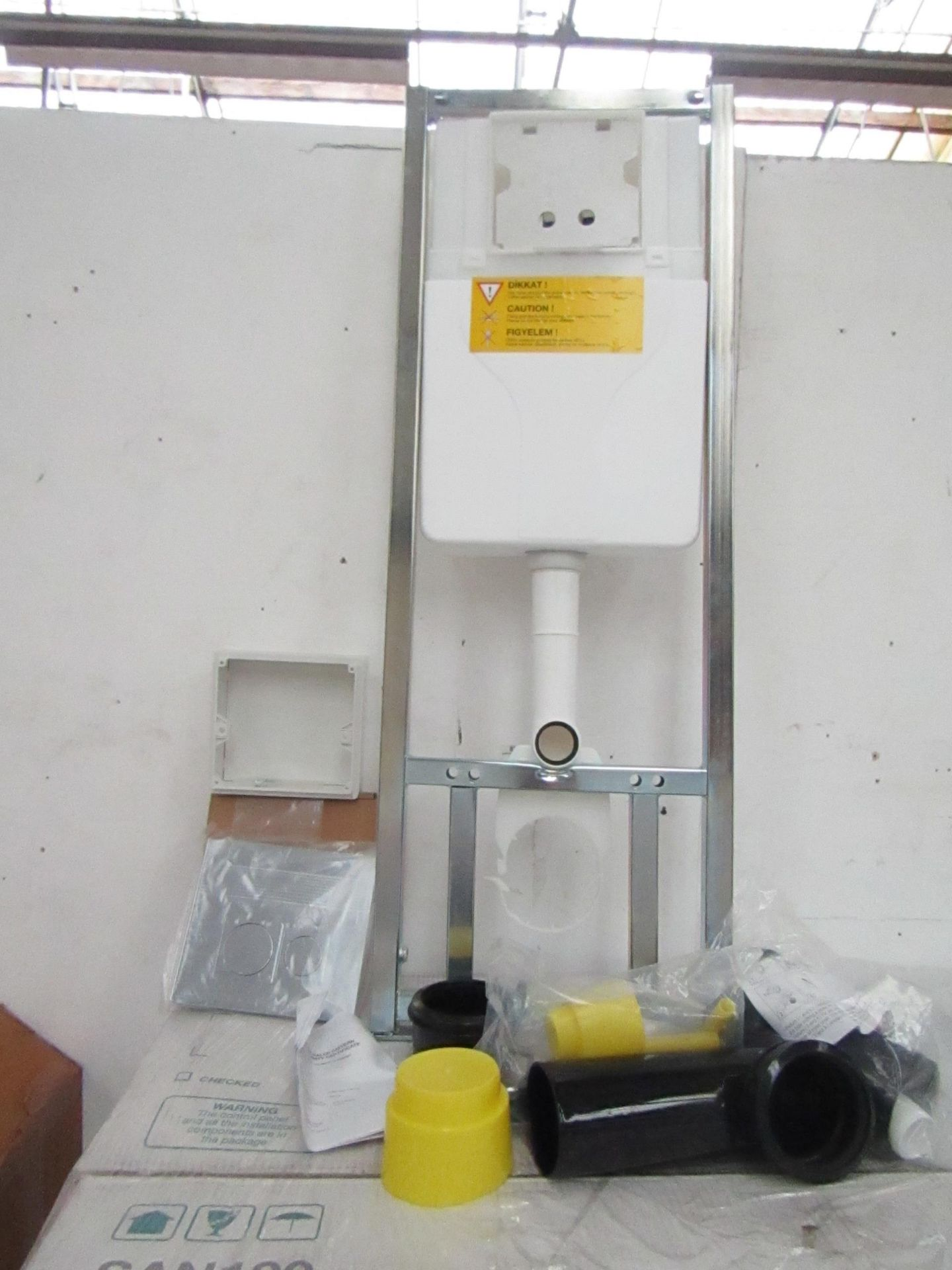 Lot 21 - SAN100 Wall or Floor mounted toilet frame with concealed cistern and dual flush plate included,