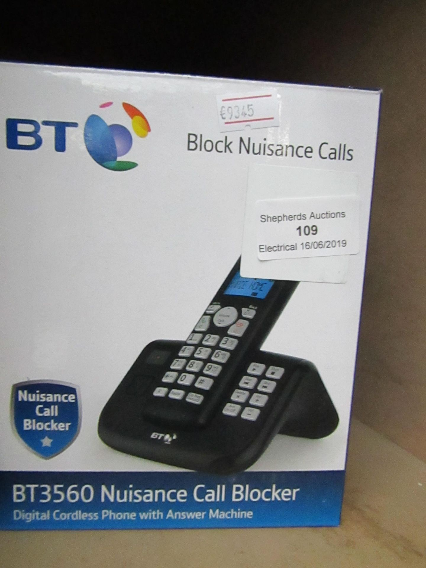 Lot 109 - BT BT3560 nuisance call blocker single digital cordless phone with answering machine, complete but