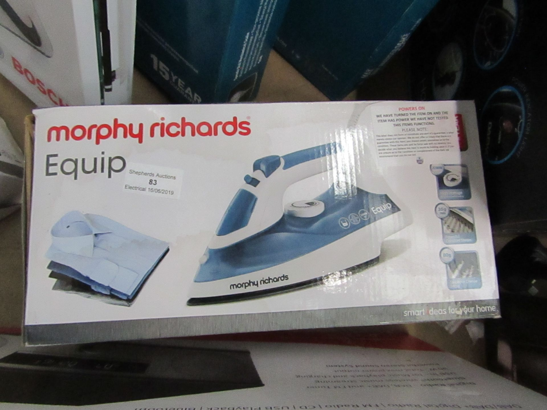 Lot 83 - Morphy Richards Equip steam iron, powers on and boxed.