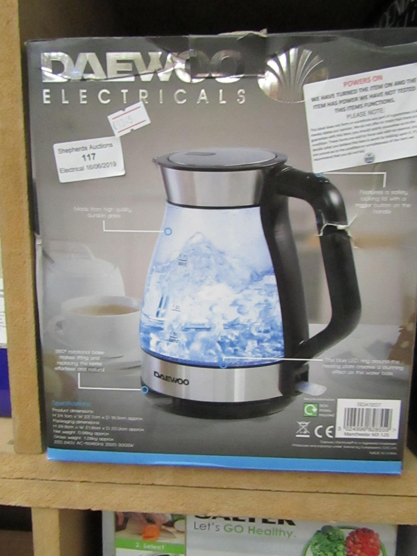 Lot 117 - Daewoo Electricals aqua kettle, tested working and boxed.