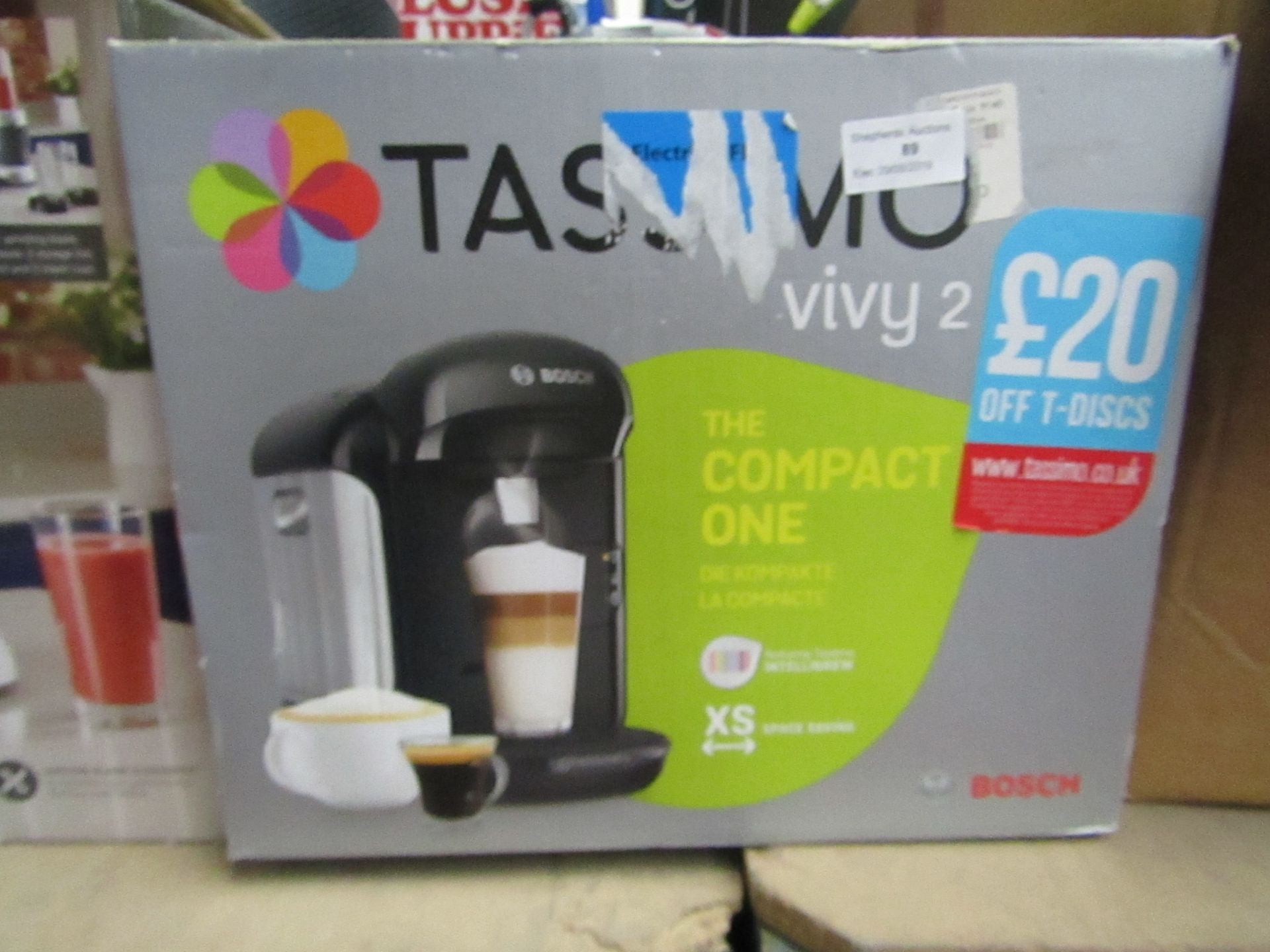 Lot 80 - Bosch Tassimo Vivy 2 coffee machine, powers on and boxed.